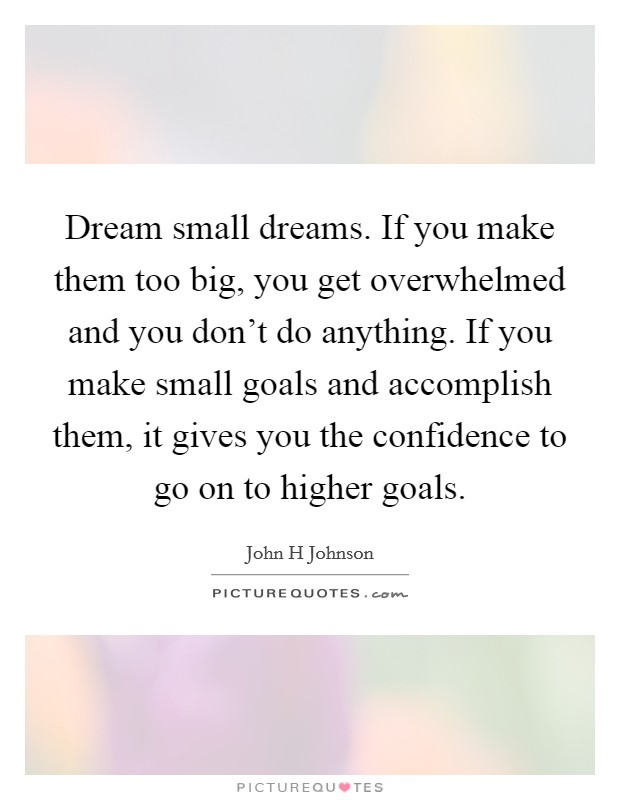 Dream small dreams. If you make them too big, you get overwhelmed and you don't do anything. If you make small goals and accomplish them, it gives you the confidence to go on to higher goals Picture Quote #1