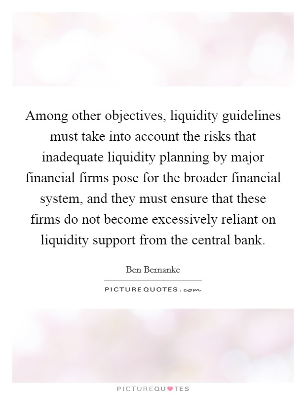 Among other objectives, liquidity guidelines must take into account the risks that inadequate liquidity planning by major financial firms pose for the broader financial system, and they must ensure that these firms do not become excessively reliant on liquidity support from the central bank Picture Quote #1