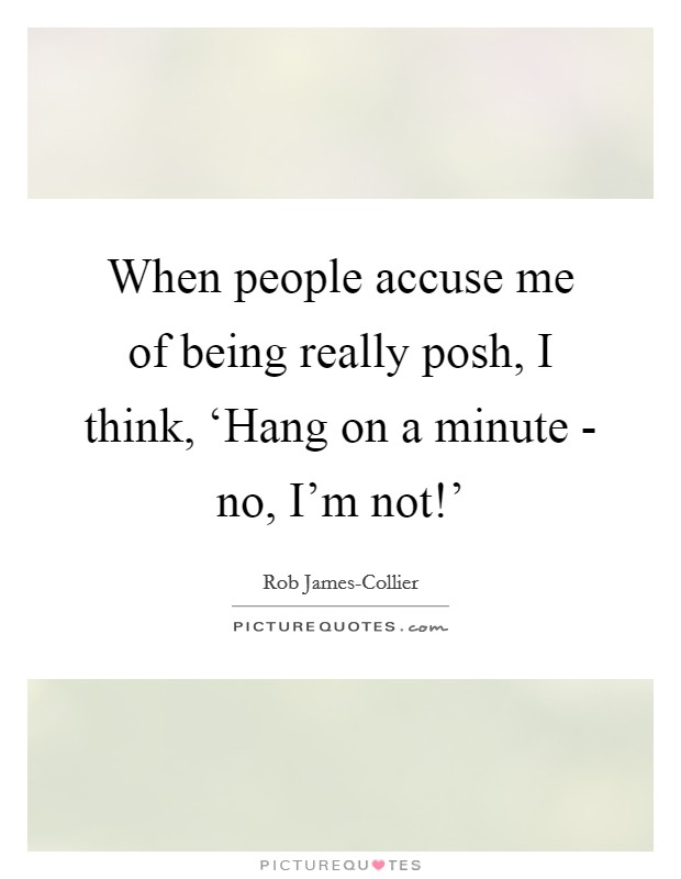 When people accuse me of being really posh, I think, 'Hang on a minute - no, I'm not!' Picture Quote #1