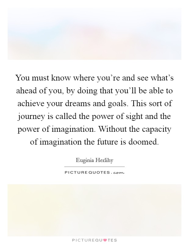 You must know where you're and see what's ahead of you, by doing that you'll be able to achieve your dreams and goals. This sort of journey is called the power of sight and the power of imagination. Without the capacity of imagination the future is doomed Picture Quote #1