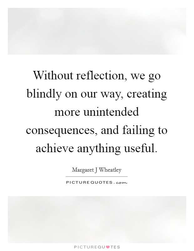 Without reflection, we go blindly on our way, creating more unintended consequences, and failing to achieve anything useful Picture Quote #1