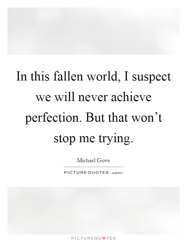 In this fallen world, I suspect we will never achieve perfection. But that won't stop me trying Picture Quote #1