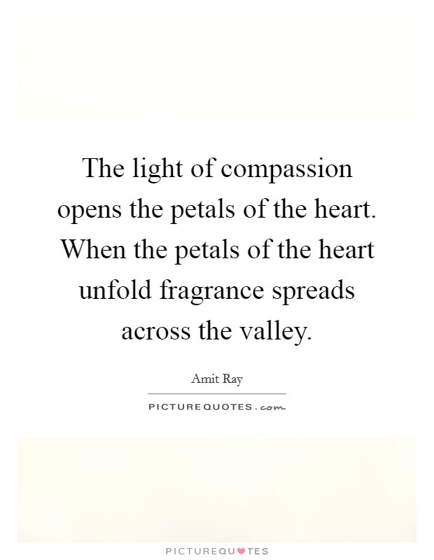 The light of compassion opens the petals of the heart. When the petals of the heart unfold fragrance spreads across the valley Picture Quote #1