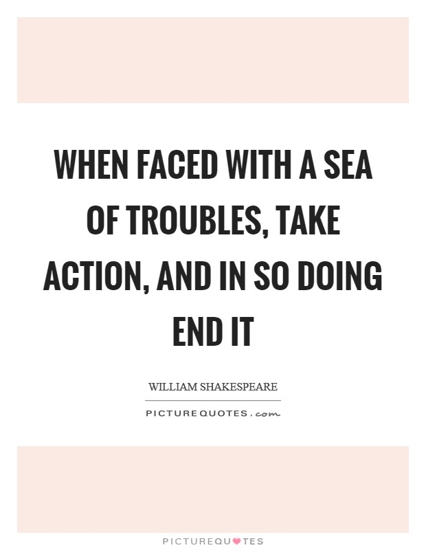When faced with a sea of troubles, take action, and in so doing end it Picture Quote #1