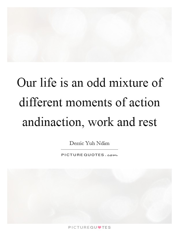 Our life is an odd mixture of different moments of action andinaction, work and rest Picture Quote #1