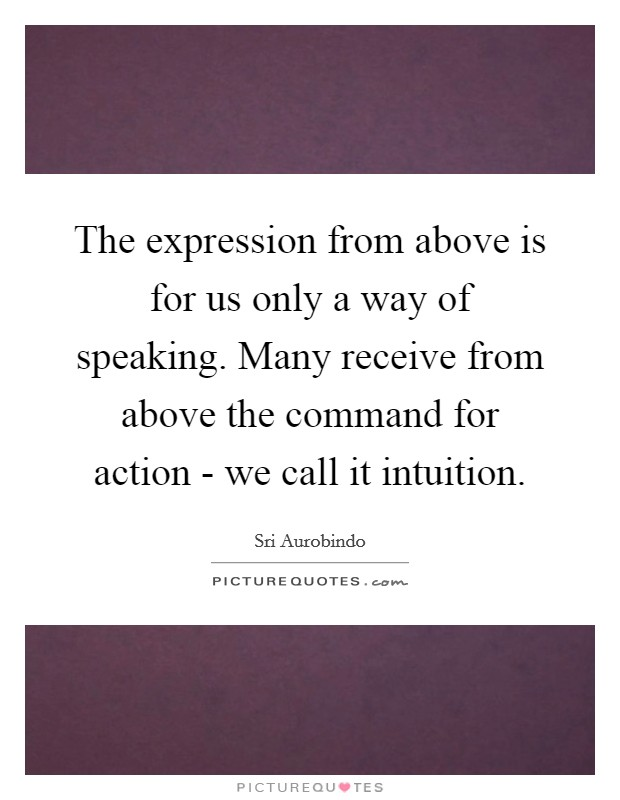 The expression from above is for us only a way of speaking. Many receive from above the command for action - we call it intuition Picture Quote #1