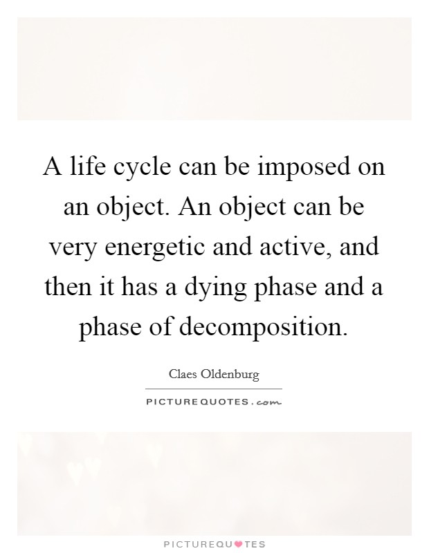 A life cycle can be imposed on an object. An object can be very energetic and active, and then it has a dying phase and a phase of decomposition. Picture Quote #1