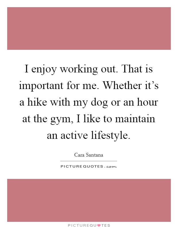 I enjoy working out. That is important for me. Whether it's a hike with my dog or an hour at the gym, I like to maintain an active lifestyle Picture Quote #1