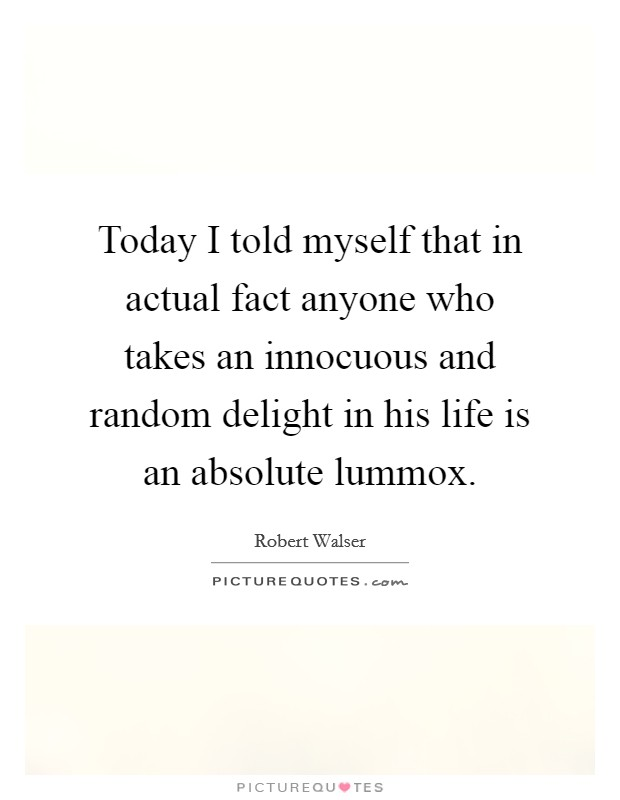 Today I told myself that in actual fact anyone who takes an innocuous and random delight in his life is an absolute lummox Picture Quote #1