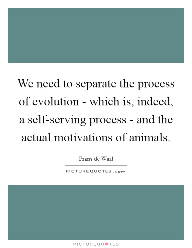 We need to separate the process of evolution - which is, indeed, a self-serving process - and the actual motivations of animals Picture Quote #1