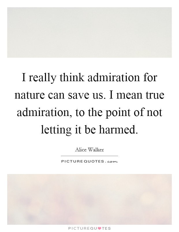 I really think admiration for nature can save us. I mean true admiration, to the point of not letting it be harmed Picture Quote #1