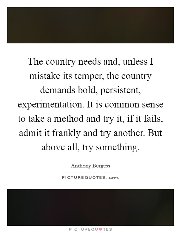 The country needs and, unless I mistake its temper, the country demands bold, persistent, experimentation. It is common sense to take a method and try it, if it fails, admit it frankly and try another. But above all, try something Picture Quote #1
