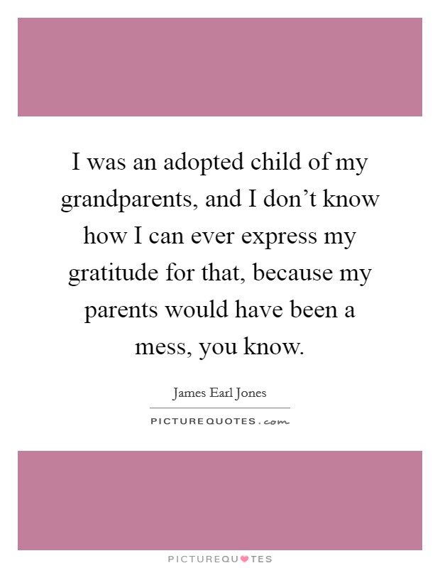 I was an adopted child of my grandparents, and I don't know how I can ever express my gratitude for that, because my parents would have been a mess, you know Picture Quote #1