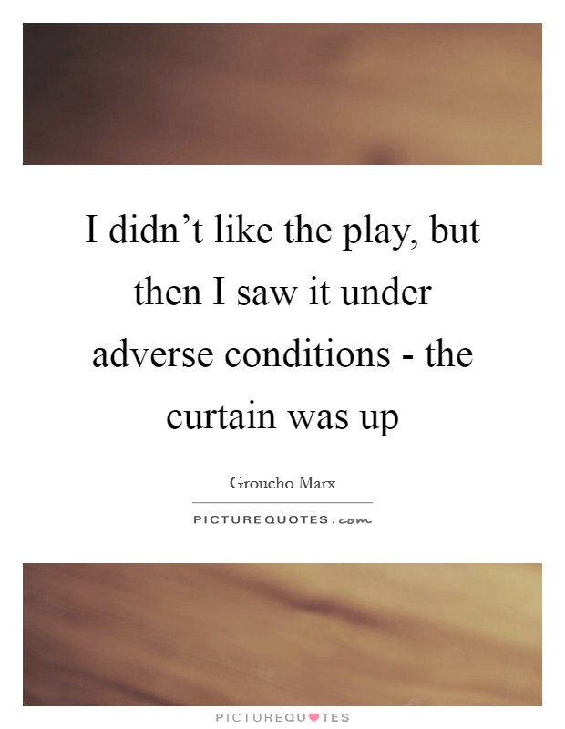 I didn't like the play, but then I saw it under adverse conditions - the curtain was up Picture Quote #1
