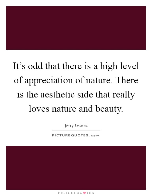 It's odd that there is a high level of appreciation of nature. There is the aesthetic side that really loves nature and beauty Picture Quote #1