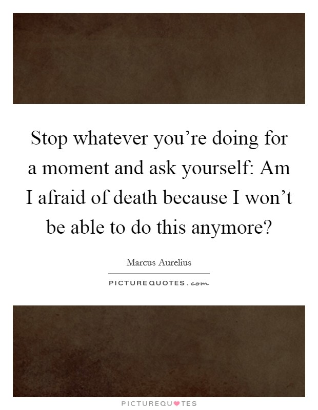 Stop whatever you're doing for a moment and ask yourself: Am I afraid of death because I won't be able to do this anymore? Picture Quote #1