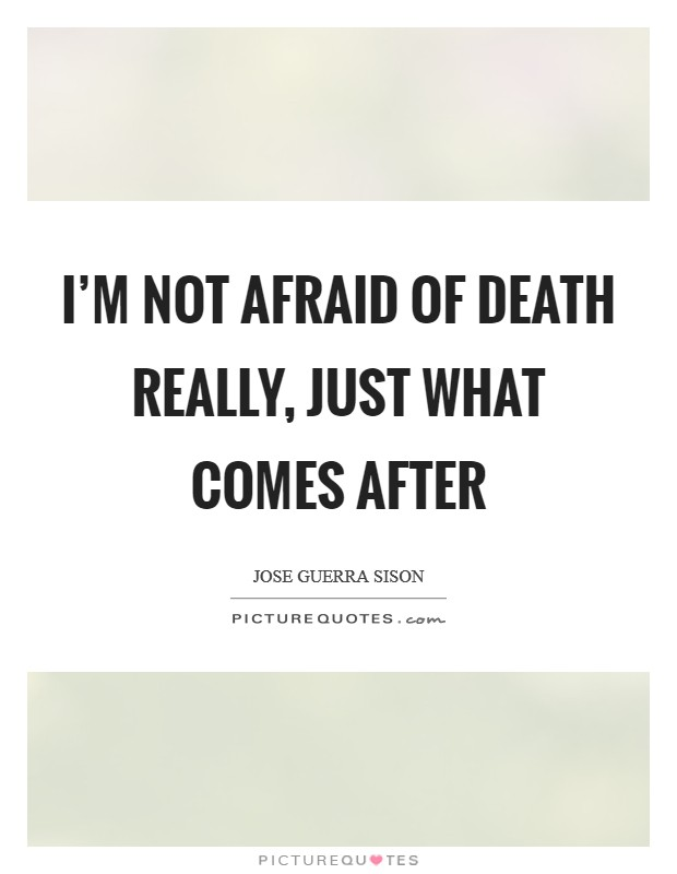I'm not afraid of death really, just what comes after Picture Quote #1