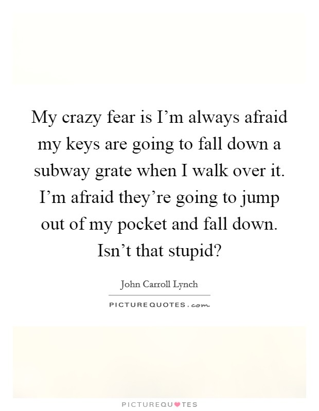 My crazy fear is I'm always afraid my keys are going to fall down a subway grate when I walk over it. I'm afraid they're going to jump out of my pocket and fall down. Isn't that stupid? Picture Quote #1