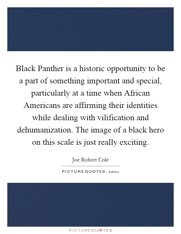 Black Panther is a historic opportunity to be a part of something important and special, particularly at a time when African Americans are affirming their identities while dealing with vilification and dehumanization. The image of a black hero on this scale is just really exciting Picture Quote #1