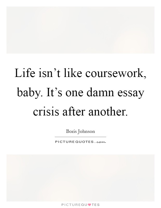 Life isn't like coursework, baby. It's one damn essay crisis after another Picture Quote #1