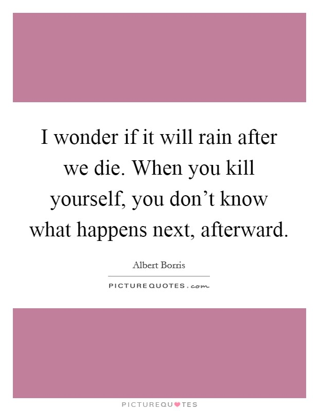 I wonder if it will rain after we die. When you kill yourself, you don't know what happens next, afterward Picture Quote #1