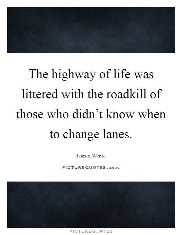 The highway of life was littered with the roadkill of those who didn't know when to change lanes Picture Quote #1