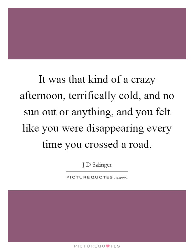 It was that kind of a crazy afternoon, terrifically cold, and no sun out or anything, and you felt like you were disappearing every time you crossed a road Picture Quote #1