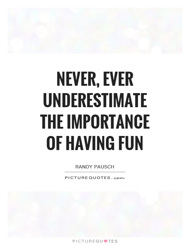 Never, ever underestimate the importance of having fun Picture Quote #1