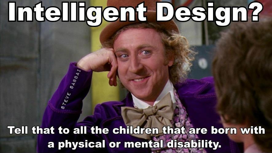 Intelligent Design? Tell that to all the children that are born with a physical or mental disability Picture Quote #1