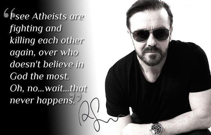 I see Atheists are fighting and killing each other again, over who doesn't believe in any God the most. Oh, no.. wait.. that never happens Picture Quote #1