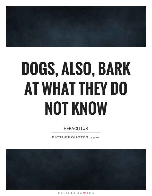 Dogs, also, bark at what they do not know Picture Quote #1
