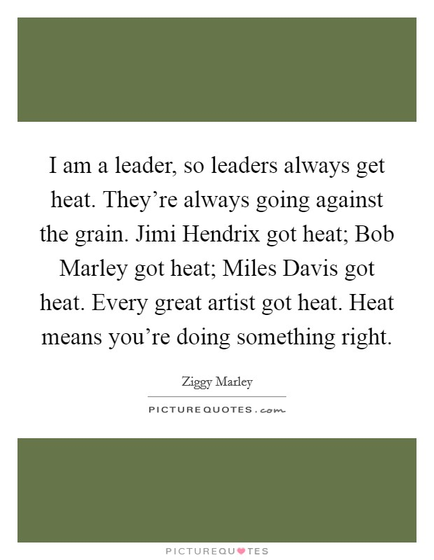 I am a leader, so leaders always get heat. They're always going against the grain. Jimi Hendrix got heat; Bob Marley got heat; Miles Davis got heat. Every great artist got heat. Heat means you're doing something right Picture Quote #1
