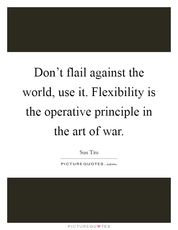 Don't flail against the world, use it. Flexibility is the operative principle in the art of war Picture Quote #1