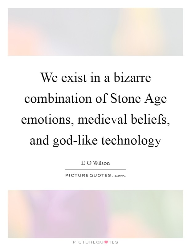 We exist in a bizarre combination of Stone Age emotions, medieval beliefs, and god-like technology Picture Quote #1