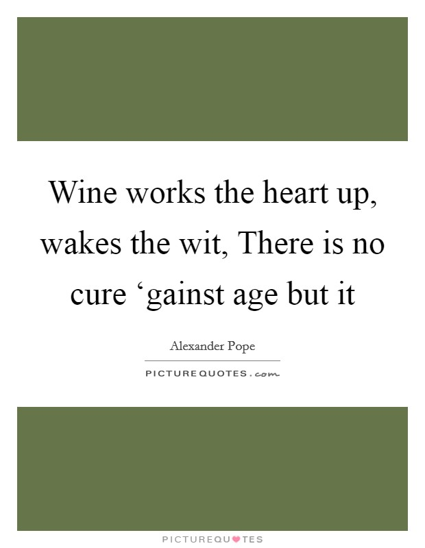 Wine works the heart up, wakes the wit, There is no cure 'gainst age but it Picture Quote #1