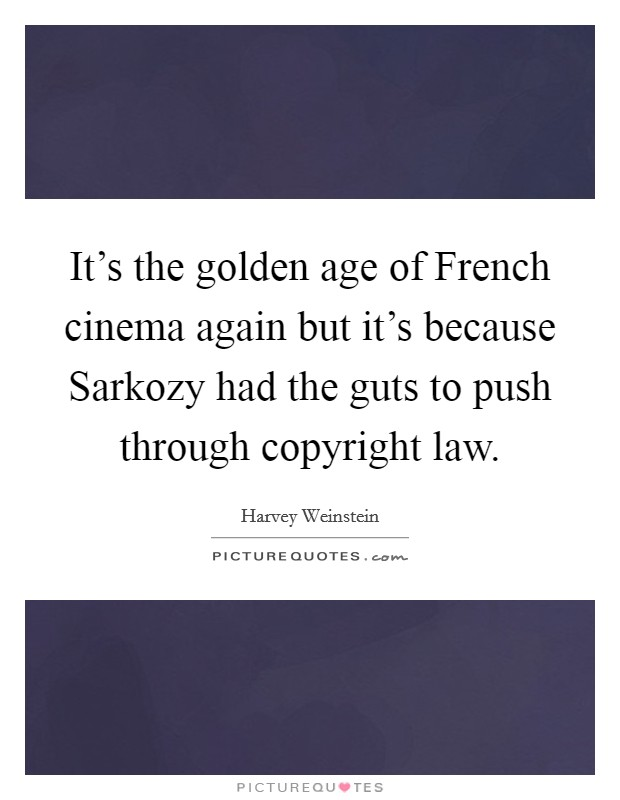 It's the golden age of French cinema again but it's because Sarkozy had the guts to push through copyright law Picture Quote #1