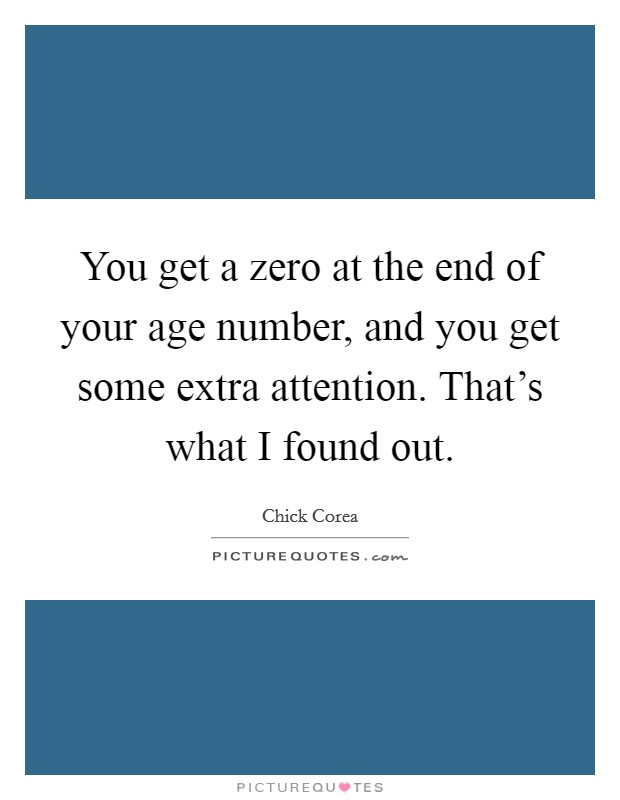 You get a zero at the end of your age number, and you get some extra attention. That's what I found out Picture Quote #1