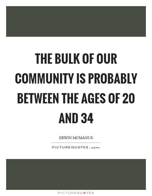 The bulk of our community is probably between the ages of 20 and 34 Picture Quote #1