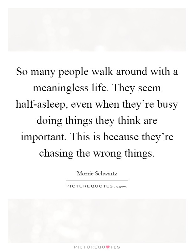 So many people walk around with a meaningless life. They seem half-asleep, even when they're busy doing things they think are important. This is because they're chasing the wrong things. Picture Quote #1