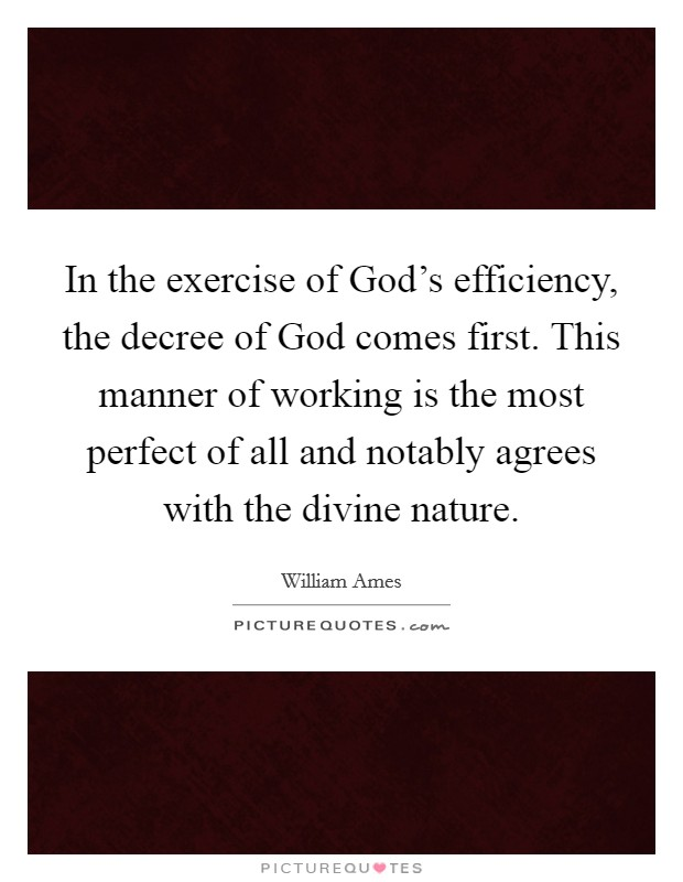 In the exercise of God's efficiency, the decree of God comes first. This manner of working is the most perfect of all and notably agrees with the divine nature Picture Quote #1