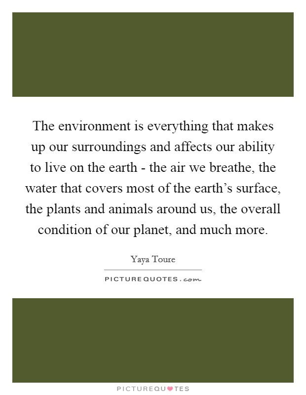 The environment is everything that makes up our surroundings and affects our ability to live on the earth - the air we breathe, the water that covers most of the earth's surface, the plants and animals around us, the overall condition of our planet, and much more Picture Quote #1