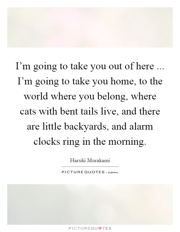 I'm going to take you out of here ... I'm going to take you home, to the world where you belong, where cats with bent tails live, and there are little backyards, and alarm clocks ring in the morning Picture Quote #1