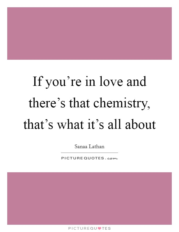 If you're in love and there's that chemistry, that's what it's all about Picture Quote #1