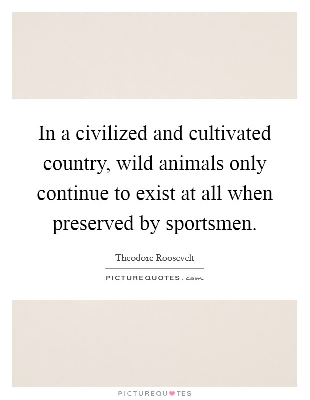 In a civilized and cultivated country, wild animals only continue to exist at all when preserved by sportsmen Picture Quote #1