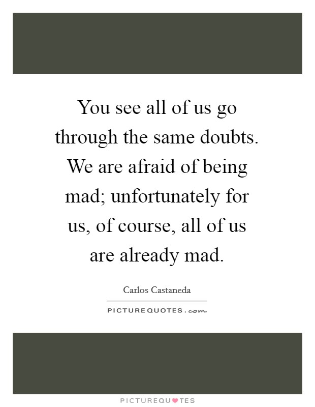 You see all of us go through the same doubts. We are afraid of being mad; unfortunately for us, of course, all of us are already mad Picture Quote #1