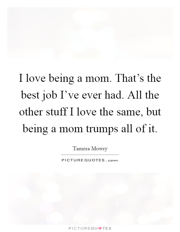 I love being a mom. That's the best job I've ever had. All the other stuff I love the same, but being a mom trumps all of it Picture Quote #1