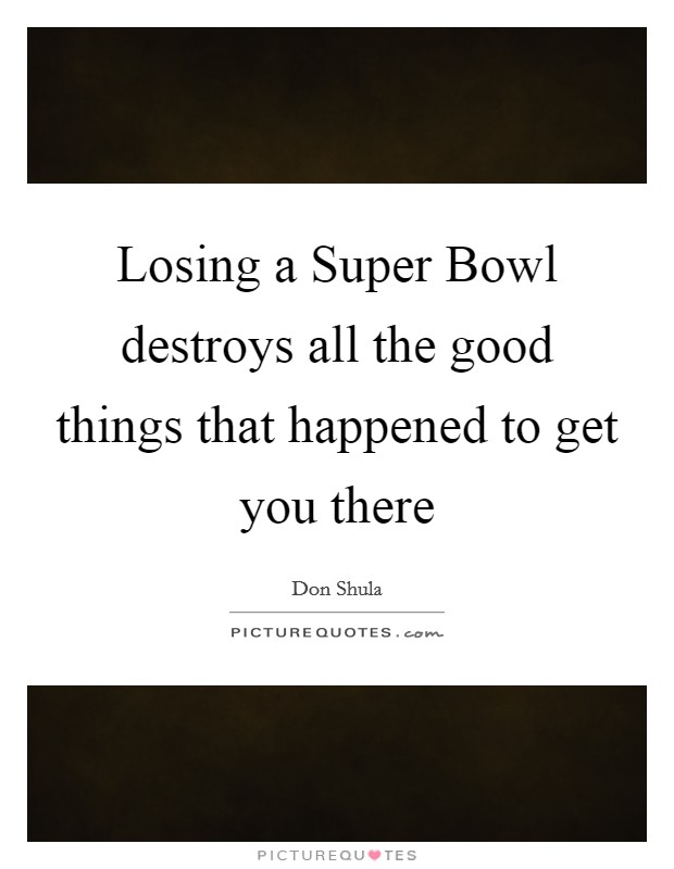 Losing a Super Bowl destroys all the good things that happened to get you there Picture Quote #1