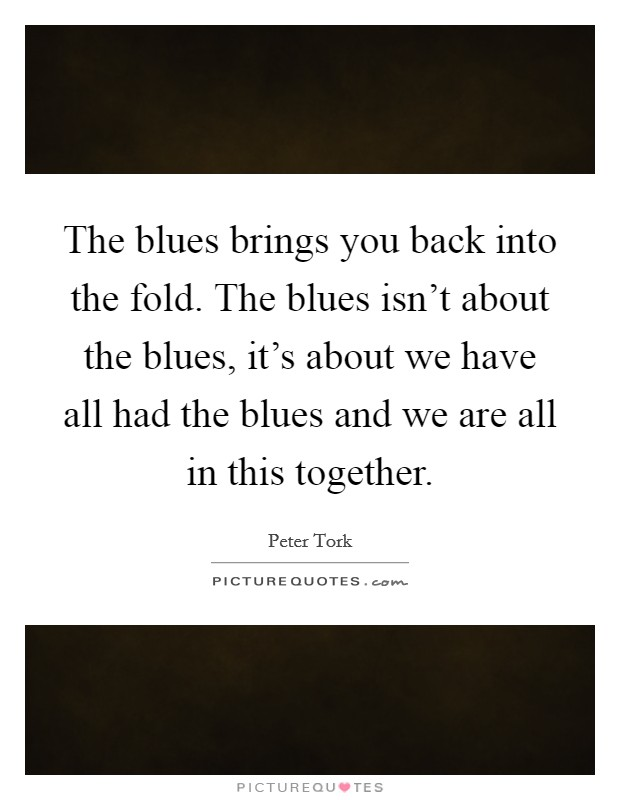 The blues brings you back into the fold. The blues isn't about the blues, it's about we have all had the blues and we are all in this together Picture Quote #1