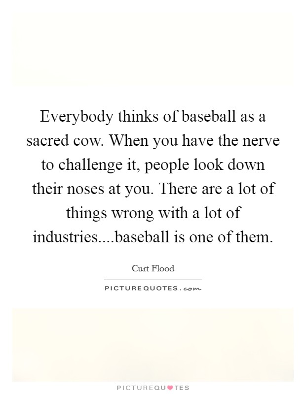 Everybody thinks of baseball as a sacred cow. When you have the nerve to challenge it, people look down their noses at you. There are a lot of things wrong with a lot of industries....baseball is one of them Picture Quote #1