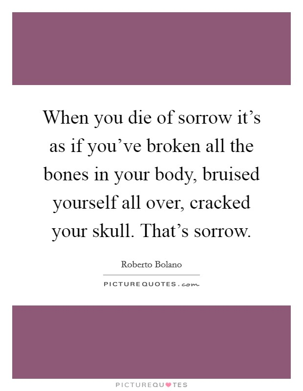 When you die of sorrow it's as if you've broken all the bones in your body, bruised yourself all over, cracked your skull. That's sorrow Picture Quote #1